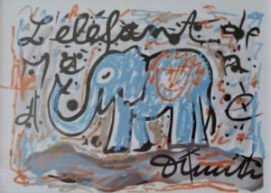 Den blauen Elefanten zeichnete Dimitri auf dem iPad.